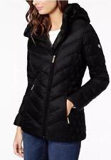 Michael Kors Asymmetrical Jacket Puffer Hood Packable Down Black XS $190 NWT