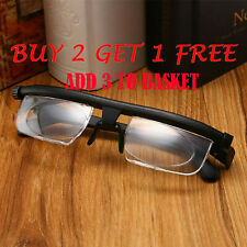 Dial Adjustable Vision Glasses Variable Focus Reading Distance Eyewear Eyeglass