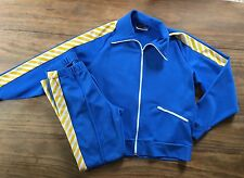 Vintage SPEEDO Track Suit Navy Blue Yellow Mens L Large  Athletic Swimming vtg