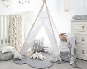Kids Rug, GREY Cloud Rug, Nursery Baby Floor Mat Decor wool, LARGE