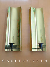 PAIR BRASS MID CENTURY MODERN WALL SCONCE! Candle Light Vtg Eames 50s 60s Holder