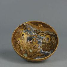 Antique Japanese Gold Satsuma Bowl Japan Porcelain 19th