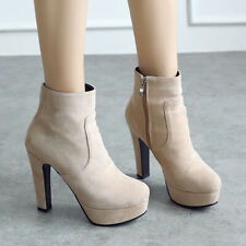 Platform Ankle Short Boots For Women Suede Zipper Chunky Heel Booties Shoes US 6