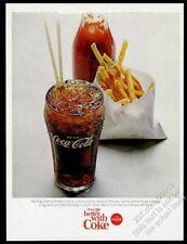 1965 Coke classic glass french fries photo Coca-Cola vintage print ad