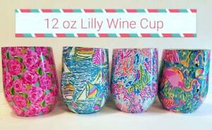 LILLY PULITZER inspired Stemless WINE Tumbler  4 COLORS **Mother's Day Gift**NEW