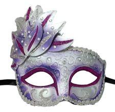 Purple White Venetian Mask Masquerade Mardi Gras Party Leaf Cascade Rhinestones