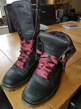 Dr Martens Black fold down boots floral fabric lining ex con UK 6