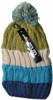 WOMENS LADIES CHUNKY STRIPED CABLE KNITTED BEANIE HAT WITH POM POM - GREEN, BLUE