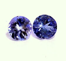 Certified Natural Tanzanite Round Cut Pair 5 mm 0.77 Cts Blue Loose Gemstones