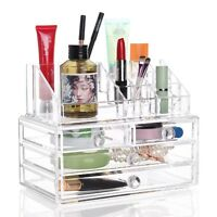 Acrylic Cosmetic Organiser Make Up Clear Storage Beauty Box Case + 4 Drawer Set