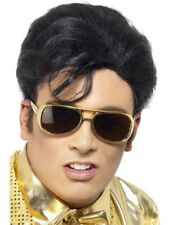 Elvis The King Official Fancy Dress Costume 50's Short Quiff WIG & GOLD GLASSES