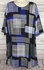 Lane Bryant Blue Black Geometric Shift Swing Dress Size 18 20 Career