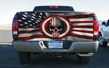 Patriotic Skull With Flag Rear Tailgate Wrap Vinyl Graphic Decal Sticker Wrap