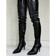Womens Sexy Med Heels Pointed Toe Thigh High Over Knee Riding Boots Stilettos SZ