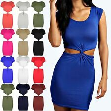 Womens Knot Front Back Cap Sleeve Dresses Ladies Side Cut Out Bodycon Mini Dress