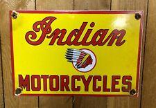 Indian Motorcycle Porcelain Sign Gas Oil Service Station Vintage Advertising