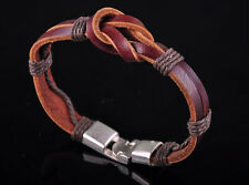 S510 Vintage Classic Charm Genuine Leather Braided Bracelet Wristband Men's Cuff