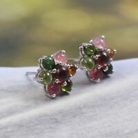 Watermelon Tourmaline Flower Dainty Cluster Earrings Stud 925 Sterling Silver