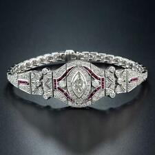 Art Deco Marquise Diamond 8.95 Carat Ruby French Cut Style Diamond Bracelet