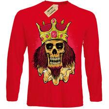 Rey de Dolor Camiseta Esqueleto Calavera Undead para Hombre, con Manga Larga