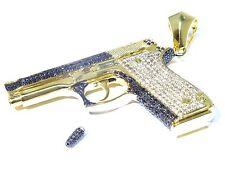 Mens 14k Yellow Gold White & Black Diamond Pave Set Gun Pendant W/Bullet 9.63ct