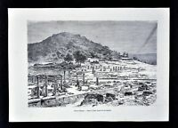 1880 Tour du Monde Antique Print - Ruins of Olympia - Ancient Greece Mt. Olympus