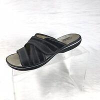 Clarks Collection Women's Sandals Slides Black Leather Size 6 M