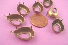 Brass Ox Pear Prong Setting 18x13 1 Ring open  Back - 12 Pieces