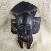 Antico Africana Maschera Legno Intagliato Senufo Kpelie Tribale Folk Art il