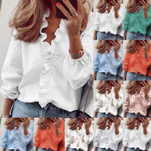 Womens Long Sleeve V Neck Shirt Plus Size Blouse Tee Ladies Work Office Tops UK