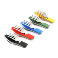 New Hot Camping Fork Tool Spoon Pocket Knife Bottle Opener Folding Cutlery Set