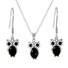 925 STERLING SILVER BLACK/WHITE OWL PENDANT NECKLACE & EARRING SET W/ DIAMONDS