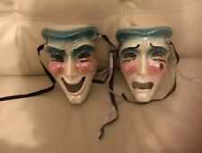 Comedy and Tragedy Ceramic Face Masks From Estate - New Orleans 1991 Wall Decor