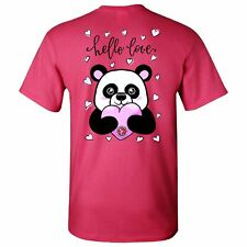 Hello Love Panda Southern Charm Collection on a Pink Short Sleeve T Shirt