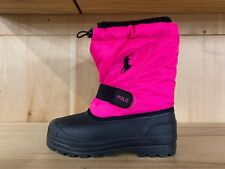 POLO RALPH LAUREN BOOTS WHISTLER BLACK PINK WATERPROOF BOOT GS SZ 4-7 Y  95285
