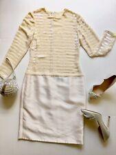 CAROLINA HERRERA COCKTAIL DRESS IVORY WITH SEQUIN DETAILS SIZE 8