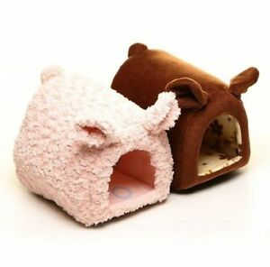 New Cute Pretty Pig shaped Pet Dog Cat House Bed Kennel Small pink/chocolate