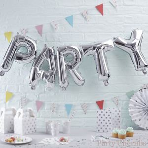 """Silver """"PARTY"""" Balloon Bunting - No Helium Needed!"""