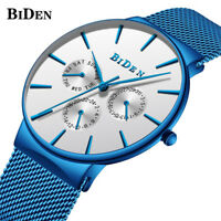 BIDEN Men Japan Quartz Mesh Stainless Steel Band Calendar Wrist Watch Waterproof