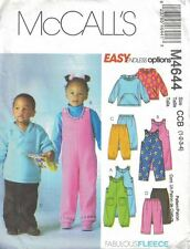 Toddlers Childs Top Jumpsuit & Pants McCall's M4644 Size 1-4 Unisex Fleece Uncut