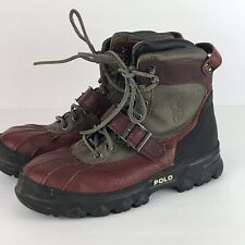 POLO RALPH LAUREN Huntswood Red Brown Leather Boots Mens Sz 9 Lace Up Hiking