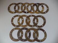 """VINTAGE TRACTOR BRASS 6.125"""" ROUND 6 HOLE GASKETS 4 DIFFERENT THICKNESSES NOS"""