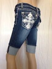 Miss Chic Jeans Rhinestone Bermuda Shorts #M372 Sz 3 NWT