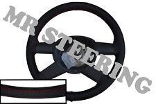 FOR MAZDA BRAVO 02-08 TOP QUALITY BLACK LEATHER STEERING WHEEL COVER RED STITCH