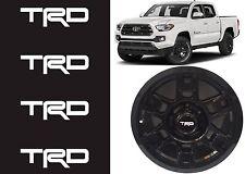 (4) Super White TRD Vinyl Decals For TRD SEMA Wheel Center Caps New Free Ship