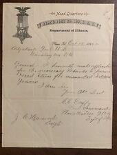 GAR Veteran  Gravestones Document 1886 Plano Illinois Civil War Kendall County