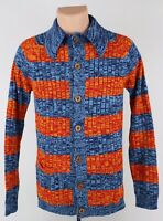True Vintage 1960s Fashion Knitwear Men's Small Knit Collared Button Up Sweater
