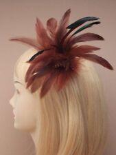 Accessoires de coiffure barrettes marrons en plumes pour femme