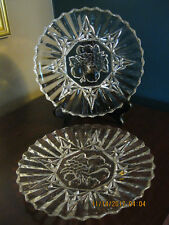 """Two FEDERAL Glass CLEAR Small 8"""" Plates Intaglio Fruit Pattern, Each over 1 LB."""