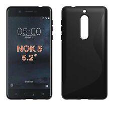 "Custodia cover WAVE NERA per Nokia 5 5.2"" case TPU flessibile nero gel morbida"